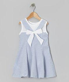 Look what I found on #zulily! Blue Stripe Bow Seersucker Dress - Toddler & Girls #zulilyfinds