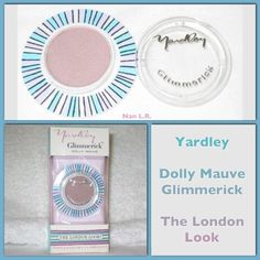 """Yardley Dolly Mauve Glimmerick in original box. """"Brightens, softens, shimmers eyes like a thousand candles. Makes blue eyes look bluer, green eyes greener, brown eyes deeper. All eyes enormously exciting""""."""