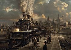 Safari Steampunk Anyone? Steampunk is a rapidly growing subculture of science fiction and fashion. Ville Steampunk, Steampunk Kunst, Steampunk City, Steampunk Artwork, Steampunk Emporium, Locomotive Diesel, Steam Locomotive, Diesel Punk, Digital Art Illustration