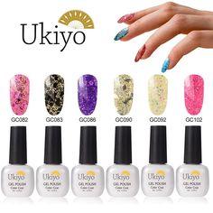 Ukiyo 6pcs Glitter Nail Polish,Soak off UV/LED Gel Nail Salon Sets >>> Click on the image for additional details. (Note:Amazon affiliate link)