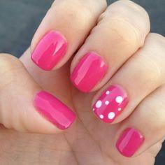 Love my nails! Pink and polka dots!