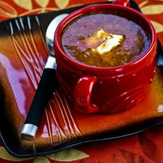 Ground Beef and Sauerkraut Soup [Visit the Blog for how-to photos for this recipe from Kalyn's Kitchen] #SouthBeachDiet #LowGlycemic #LowCarb