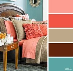 16 Best Color Combos to Spice Up Your Bedroom Decor Bedroom Colour Palette, Bedroom Color Schemes, Colour Pallete, Bedroom Colors, Colour Schemes, Home Decor Bedroom, Coral Bedroom, Design Bedroom, Best Color For Bedroom