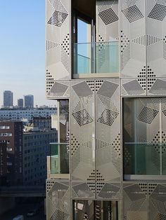 M9D4 Apartments Architectures Anne Démians. Stainless steel perforated laser cut pattern. Screen. Openable operable.