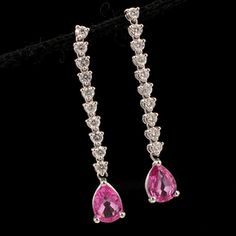 Shop 18KW 2.47ctw Pink Sapphire Pear .90ctw Diamond Dangle Earrings and other jewelry, art, coins, rugs and real estate at www.aantv.com