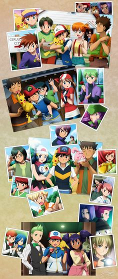 Ash and Pikachu with all of their friends they made throughout the years ^_^ ^.^ ♡
