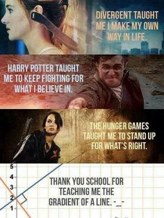 15 Reasons Why We Should Of Stopped Reading Harry Potter, The Hunger Games, Divergent And Twilight (for Obvious Reasons). I learned everything I know from [. Book Memes, Book Quotes, Game Quotes, Funny Quotes, Funny Memes, Hilarious, I Love Books, Good Books, Citations Film