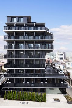 Zoom Togoshi Ginza 小山光/Key Operation Inc. Wooden Architecture, Facade Architecture, Sun Shadow, High Rise Building, Square Meter, Condominium, Terrace, The Neighbourhood, Multi Story Building