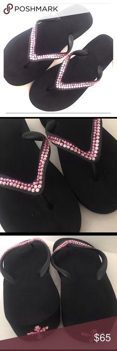 "🐣Spring Cleaning Exclusive🐣 Swarovski FlipFlops 🐣Spring Cleaning Exclusive🐣 Swarovski custom made 2"" wedge Flip Flops in black with custom light and dark pink design across t-straps and back Swarovski Shoes Sandals"