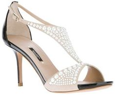 Baldan bi-colour stiletto sandal. Wedding Shoes.