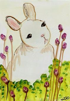 ACEO folk art EASTER BUNNY egg hunt cat kids farm rabbit print of painting DC