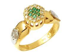 Anel de formatura desenho e comunição  em ouro 18k 750 com 12 diamantes de 1 ponto cada e 7 esmeralda natural Peso: 4.0 gramas