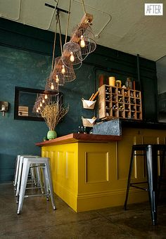 that teal and that yellow. and those lights! ahh! Cafe Design, Rustic Restaurant Design, House Design, Cafe Lighting, Basket Lighting, Unique Lighting, Yellow Restaurant, Bar Restaurant, Mustard Kitchen