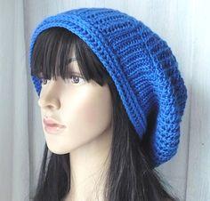 Royal Blue Crochet Hat/Crochet Slouchy Hat/Womens Hat/Gift For Her/Gift For Girl/Hat For Girl/Blue Hat/Slouchy Hat/Spring Hat/Oversized Hat/ by GoldenAniel on Etsy