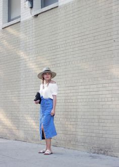 The Steele Maiden: Classic Summer Style - Denim Midi Skirt and @talbots Linen Off the Shoulder Top