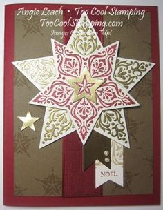 Bright & Beautiful Countdown To Christmas card - stars, gold, holiday, christmas, noel, stampin up, cards, stamping Details at www.toocoolstamping.com