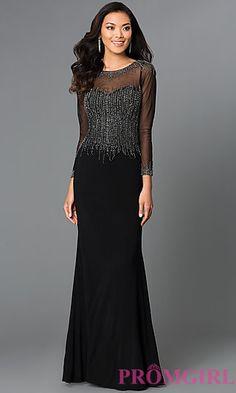 Floor+Length+Black+Dress+G405+with+Sheer+Sleeves+at+PromGirl.com