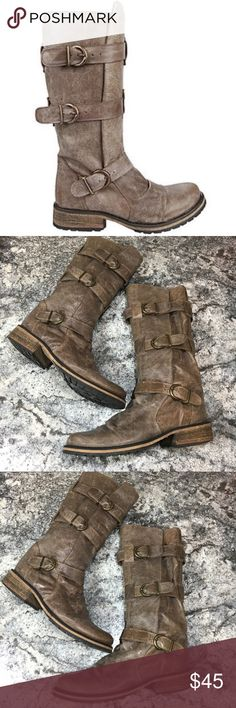 """Steve Madden Buckkie distressed leather moto boots Steve Madden """"Buckkie"""" distressed leather, moto style boots in taupe. Heel height 1"""", genuine leather, women's size 9.5 in excellent used condition, the leather has a distressed look Steve Madden Shoes Combat & Moto Boots"""