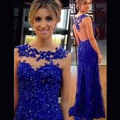 Charming Prom Dress,Royal Blue Prom Dress,Long Evening Formal