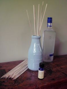 Homemade reed diffuser  What You Need:  Glass or ceramic container (make sure it's glazed inside so it doesn't leak, and the narrower the neck on your bottle the better as that will slow evaporation)  Essential oil  Vodka  Water  Bamboo skewers (pointy ends trimmed off)