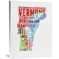 Naxart 'Vermont Watercolor Word Cloud' Textual Art on Wrapped Canvas Size: