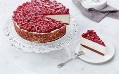 Download wallpapers cheesecake, cherry cake, sweets, baked goods, large cakes
