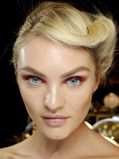 Donna Karan F/W '12 makeup: http://beautyeditor.ca/2012/08/16/heres-the-latest-tricky-trend-to-try-orangey-red-or-pink-eyeshadow/