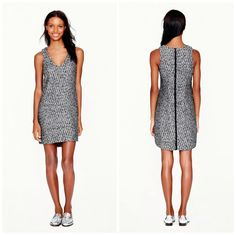 J. Crew Collection Black & White Starlight Tweed Sleeveless Dress Size 2 $368 #JCrewCollection #Sheath #Festive