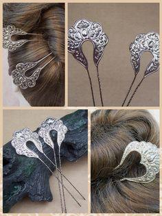Vintage pair hair picks silver tone metal Balinese hair comb. Eva Garcia · adornos  pelo 028270a0df1c