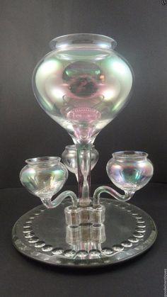 Antique Victorian Bohemian Harrach Glatt Iris Iridescent Art Glass Epergne Vase #Victorian #Harrachorother
