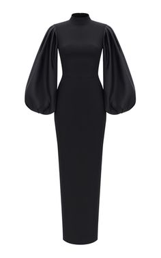 Shop Voluminous Sleeve Crepe And Satin Gown. Rasario's voluminous sleeve gown is designed with a mock neckline, fitted silhouette and a floor length. Hijab Fashion, New Fashion, Fashion Dresses, Fashion Music, American Fashion, Unique Fashion, Fashion Photo, Fashion Women, Winter Fashion
