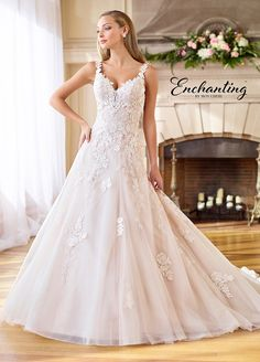 5717144bfb9e Embrodiered Tulle, Lace, & Organza A-Line Wedding Gown- 218183