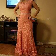 Sale Price. Today Only Formal Lace Gown New with tags. Coral in color. Beautiful dress. Bought never got a chance to wear it Dresses
