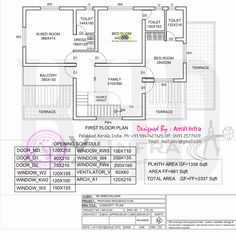 Free floor plan and elevation of 5 bedroom house in 2337 square feet by AmVi Infra, Palakkad, Kerala Round House Plans, Duplex Floor Plans, Free Floor Plans, Best Home Plans, Kerala Houses, Duplex Apartment, 5 Bedroom House, Plan Design, Building Plans