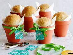 Rosemary Bread in a Flower Pot - rosemary bread baked in a clay flower pot makes a charming gift. Push a garden tag (or thank-you card) into the bread, and wrap the pot with a packet of rosemary seeds.