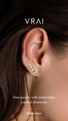Pretty Ear Piercings, Ear Peircings, Diamond Earing, Diamond Studs, Ear Jewelry, Fine Jewelry, Jewlery, Diamond Shop, Lady Luxury