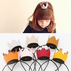 Felt Crown Headbands for a princess party Felt Crafts, Diy And Crafts, Diy For Kids, Crafts For Kids, Ben Y Holly, Sewing Projects, Craft Projects, Felt Crown, Crown Headband