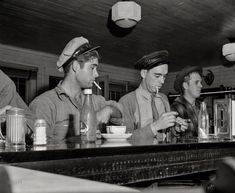 """Mississippi, 1943. """"Truck drivers at a highway coffee stop on U.S. Highway 90."""" http://www.shorpy.com/node/21631 John Vachon"""
