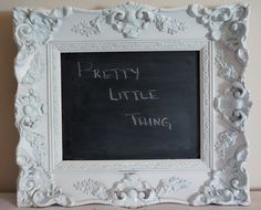 Ornate Glossy White Frame w/ Blackboard- wedding prop, home notes, menu, appointment reminder