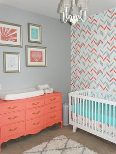 Custom Crib bedding Coral Grey and Aqua Baby by GiggleSixBaby great wallpaper