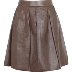 Vince wide Pleated Leather Skirt in a light brown with banded waist