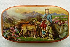 Vintage Tin Box with Scottish Hunting Scene, Title '' Gillie and Deerhounds ''