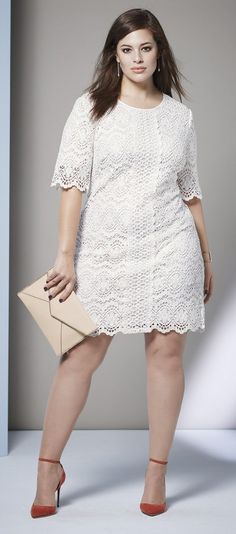 Plus Size A-Line Lace Shift Dress