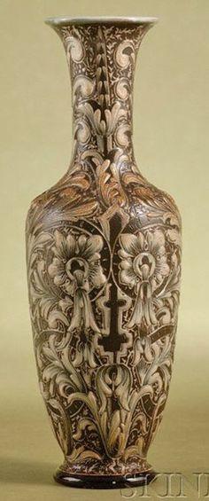 Rare Edwardian Royal Doulton Stoneware Vase By Mark V Marshall
