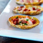 Usually when I make potato skins, I go old school and top them with melted cheddar, diced bacon, sour cream, and chives. But there are so many variations on the theme. Pizza, for instance! Imagine the possibilities. I whipped up these very simple pepperoni pizza beauties, but you can take off running and do whatever pizza topping