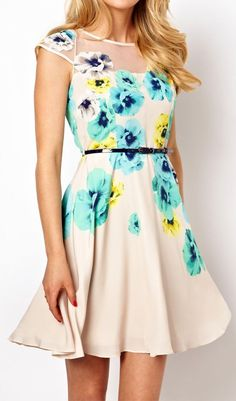 Apricot Short Sleeve Embroidery Floral Dress - Adore this dress! Pattern and style!