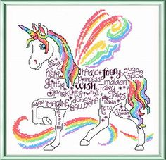 Cross Stitch Kits Lets Unicorn 'words' cross stitch pattern designed by Ursula Michael. - Let's Unicorn cross stitch pattern. Another fun, colorful pattern in our 'Words' series. Cross Stitch Horse, Unicorn Cross Stitch Pattern, Fantasy Cross Stitch, Unicorn Pattern, Cross Stitch Baby, Counted Cross Stitch Patterns, Cross Stitch Charts, Cross Stitch Designs, Cross Stitch Embroidery