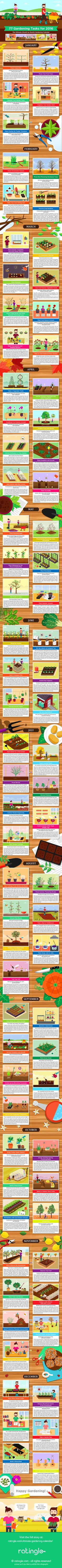 Visit the ultimate gardening calendar at: http://ratingle.com/ultimate-gardening-calendar/ With these 77 illustrated gardening tips you can enjoy your garden the whole year. Learn when to plant what, how to keep your garden tools in shape and how to protect tender plants from frost. A fun gardening infographic for everyone. Keywords: garden planting calendar, gardening calendar, garden calendar, gardening tips, how to start a garden