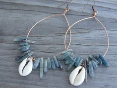 Kyanite Shards and Cowrie Shells Copper Hoops