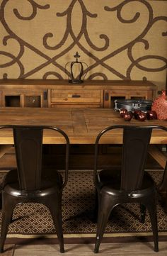 Rustic furniture ensemble with industrial chairs and solid wood dining table and buffet Unique Furniture, Rustic Furniture, Industrial Chair, Parsons Chairs, Solid Wood Dining Table, Traditional Furniture, Occasional Chairs, Chair And Ottoman, Contemporary